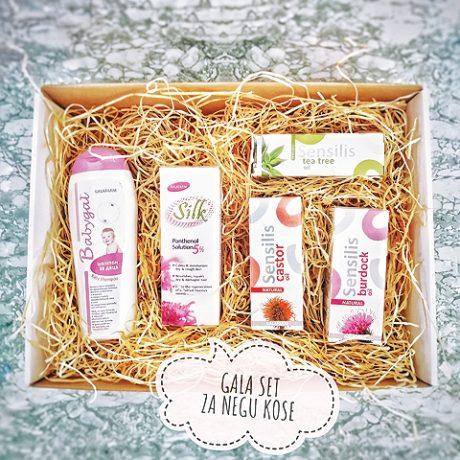 poklon set u kartonskoj kutiji sa proizvodima za negu kose