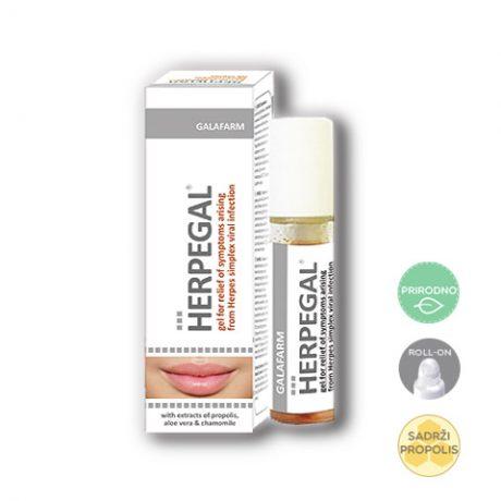 Herpegal® roll-on za herpes na usnama rirodna uljana mešavina sa dodatkom propolisa sa rolon aplikatorom za ublažavanje simptoma herpesa na usnama