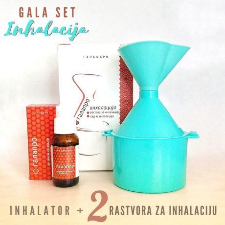 GALA SET Inhalacija-plastični anatomski inhalator u kompletu sa dva rastvora za inhalaciju sa propolisom i etarskim uljima